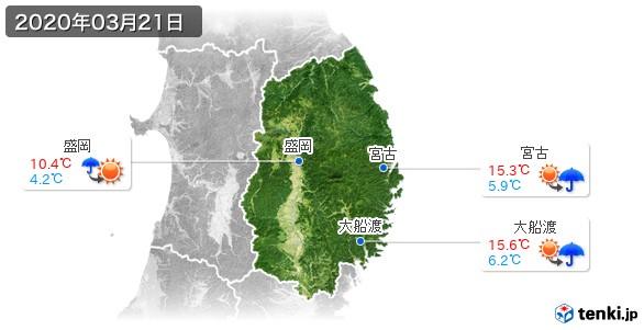 岩手県(2020年03月21日の天気