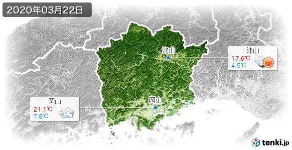 岡山県(2020年03月22日の天気