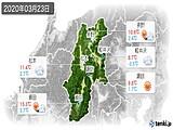 2020年03月23日の長野県の実況天気