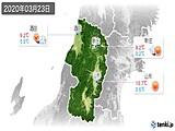2020年03月23日の山形県の実況天気