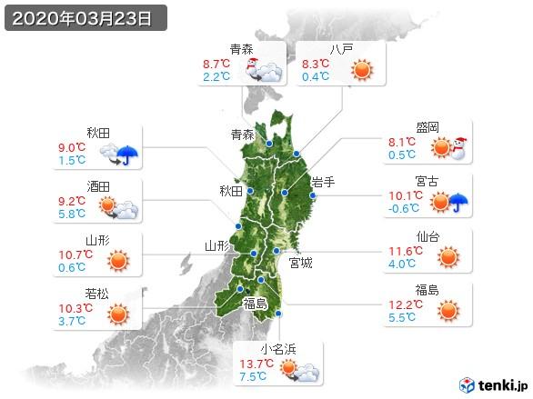 東北地方(2020年03月23日の天気