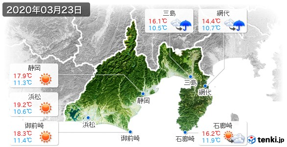 静岡県(2020年03月23日の天気