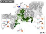 2020年03月24日の東海地方の実況天気