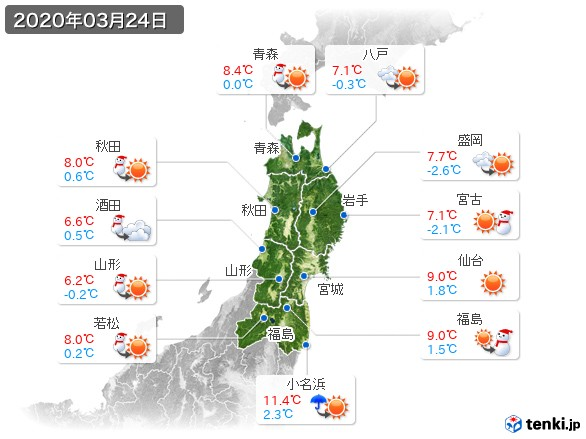 東北地方(2020年03月24日の天気