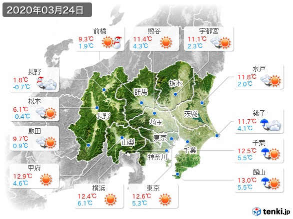 関東・甲信地方(2020年03月24日の天気