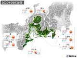 2020年03月25日の東海地方の実況天気