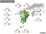 2020年03月25日の九州地方の実況天気