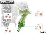 2020年03月25日の千葉県の実況天気