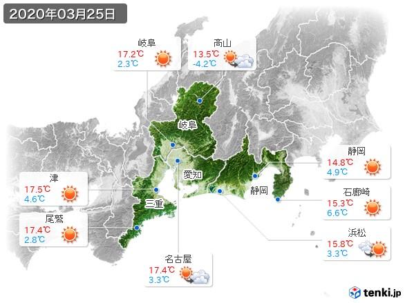 東海地方(2020年03月25日の天気