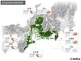 2020年03月26日の東海地方の実況天気