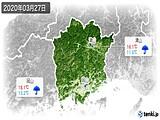 2020年03月27日の岡山県の実況天気