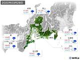 2020年03月28日の東海地方の実況天気