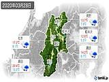 2020年03月28日の長野県の実況天気