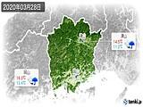 2020年03月28日の岡山県の実況天気