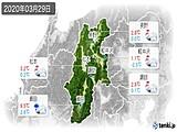 2020年03月29日の長野県の実況天気