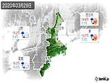 2020年03月29日の三重県の実況天気