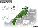 2020年03月29日の島根県の実況天気