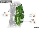 2020年03月29日の岩手県の実況天気
