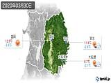 2020年03月30日の岩手県の実況天気