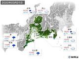 2020年03月31日の東海地方の実況天気