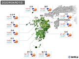 2020年04月01日の九州地方の実況天気