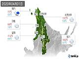 2020年04月01日の道北の実況天気