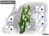 2020年04月01日の長野県の実況天気