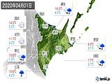 2020年04月01日の道東の実況天気