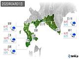 2020年04月01日の道南の実況天気