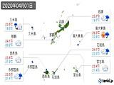 2020年04月01日の沖縄県の実況天気