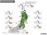 2020年04月02日の東北地方の実況天気