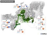 2020年04月02日の東海地方の実況天気