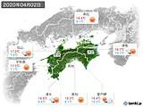 2020年04月02日の四国地方の実況天気
