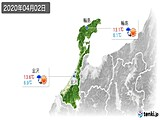 2020年04月02日の石川県の実況天気