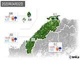 2020年04月02日の島根県の実況天気