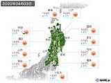 2020年04月03日の東北地方の実況天気