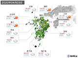 2020年04月03日の九州地方の実況天気