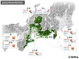 2020年04月05日の東海地方の実況天気