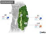 2020年04月05日の岩手県の実況天気