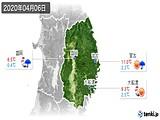 2020年04月06日の岩手県の実況天気