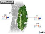2020年04月08日の岩手県の実況天気