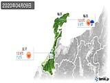2020年04月09日の石川県の実況天気