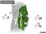 2020年04月09日の岩手県の実況天気
