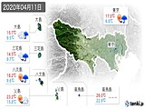2020年04月11日の東京都の実況天気