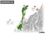 2020年04月11日の石川県の実況天気
