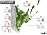 2020年04月11日の道東の実況天気