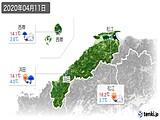 2020年04月11日の島根県の実況天気