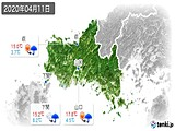 2020年04月11日の山口県の実況天気