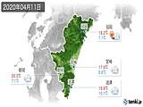 2020年04月11日の宮崎県の実況天気