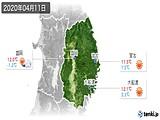 2020年04月11日の岩手県の実況天気